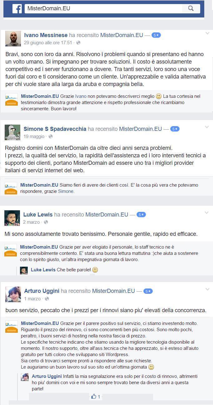 recensioni Misterdomain sulla pagina Facebook