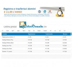 prezzi hosting di Misterdomain.eu