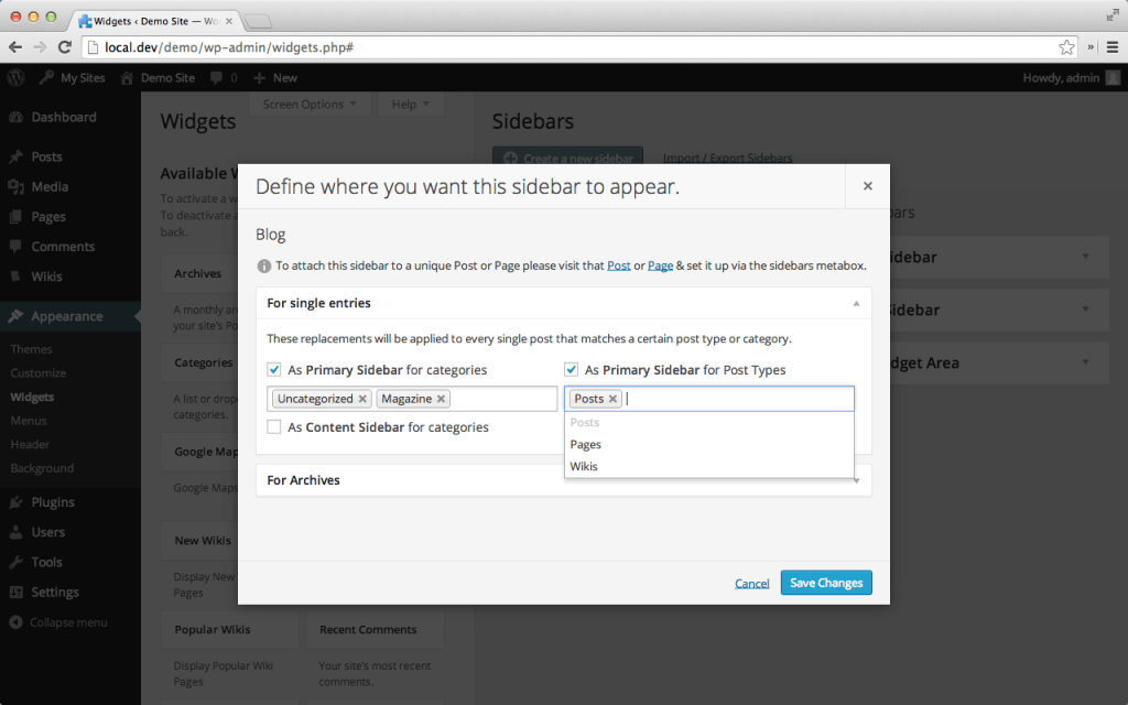 Custom Sidebar WP Plugin