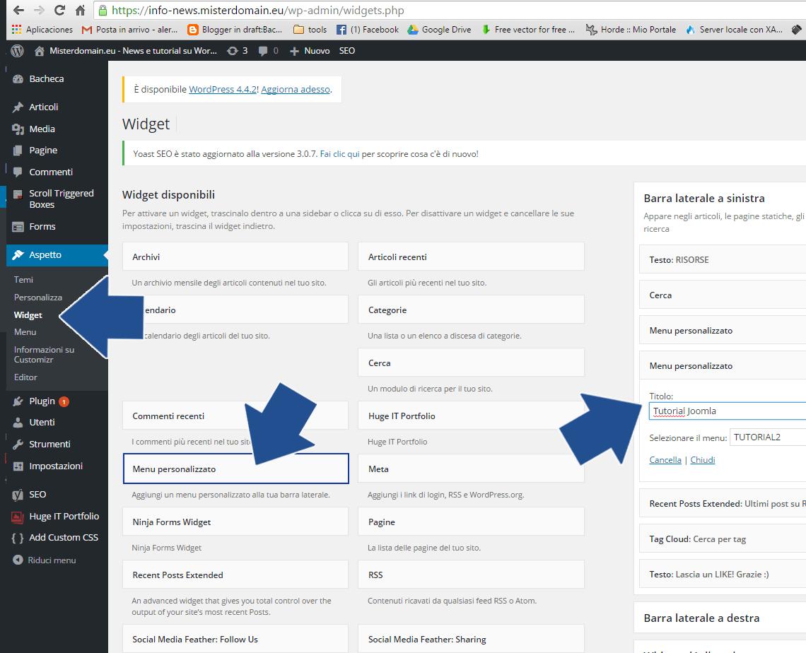 Menu personalizzato su WordPress