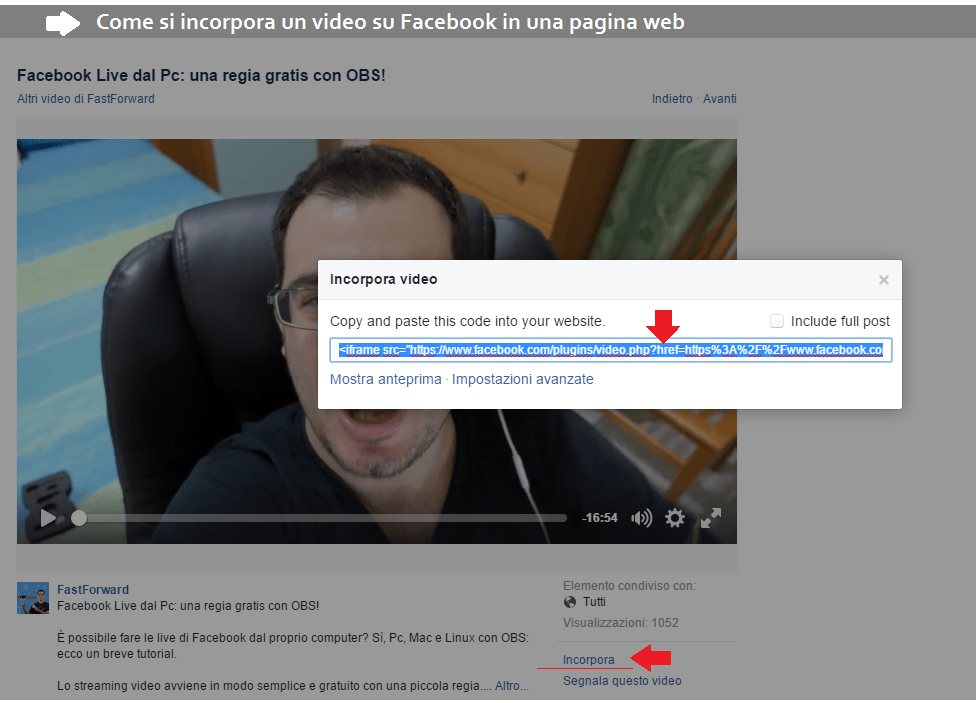incorporare video facebook sul sito