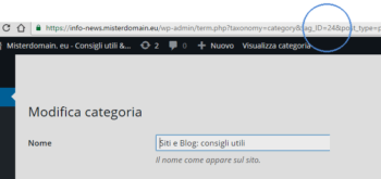 come scoprire ID categoria su wordpress