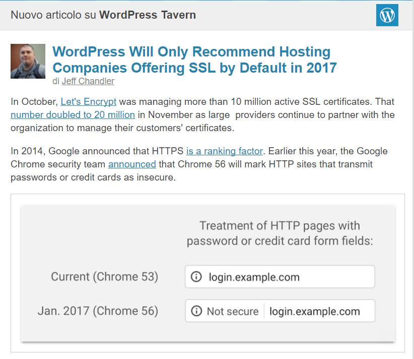 ssl- wordpress prepara le API