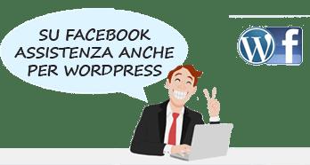 assistenza commerciale e per wordpress su facebook