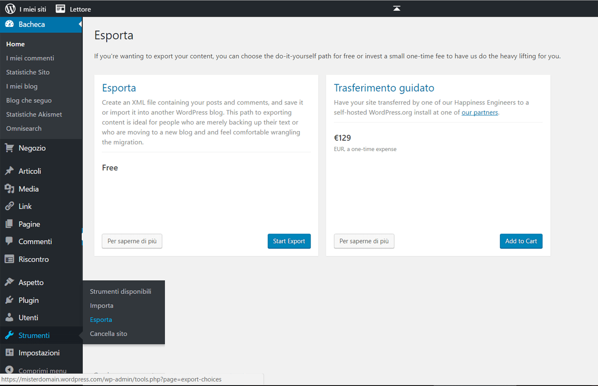 Come importare un sito da WordPress.com ad altro hosting