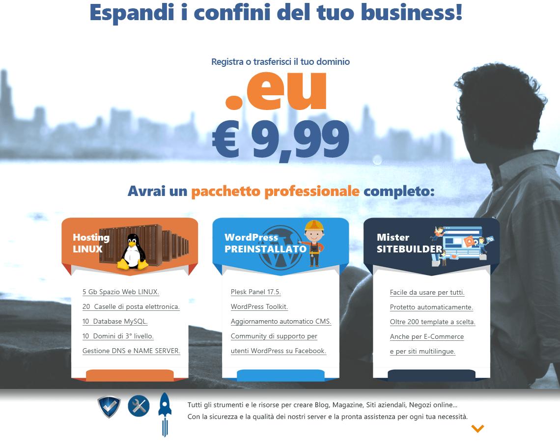 Promozione EU Misterdomain con hosting Linux, WordPress preinstallato e Sitebuilder