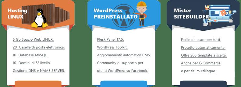 caratteristiche della promozione EU con Hosting, WordPress Preinstallato e Sitebuilder