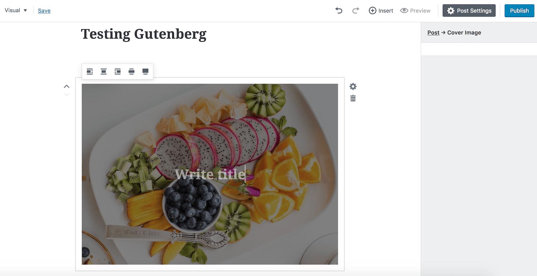 funzioni di editing nell'immagine di Gutenberg - il titolo